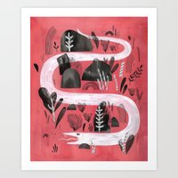 snake Art Prints featuring Snake by Maggie Chiang