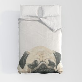 Nap Pug, Dog illustration original painting print Comforters