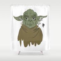 yoda Shower Curtains featuring YODA by Art of Bianca