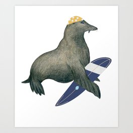 Cute & Funny Surfing Seal for Seal Lover Art Print