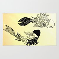 ying yang Area & Throw Rugs featuring Ying Yang fish by Mollybaggy