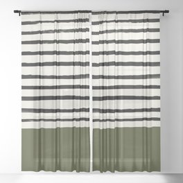 Olive Green x Stripes Sheer Curtain