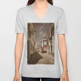 Sepia treatment of a cobbled street, Portugal Unisex V-Neck