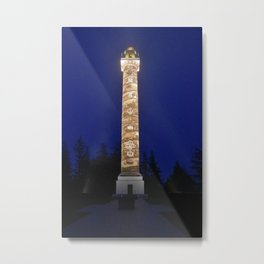 Astoria Column, blue hour fog Metal Print