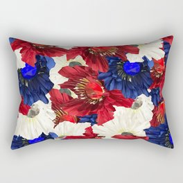 Red White Blue Floral Gems Rectangular Pillow