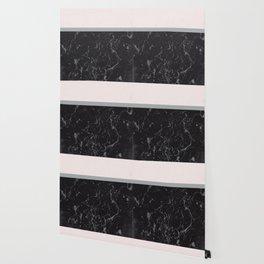 Grey Black Marble Meets Romantic Pink #1 #decor #art #society6 Wallpaper