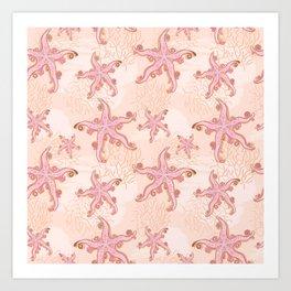 Starfish and Coral Pink Pastel Pattern Art Print