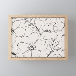 Floral Simplicity - Neutral Black Framed Mini Art Print