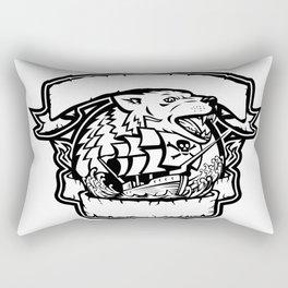Wolf Pirate Ship Banner Retro Rectangular Pillow