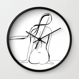 Woman Line Drawing Wall Clock