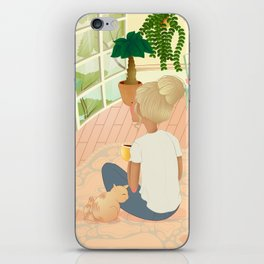 girl with cat relaxing at home looking out the window iPhone Skin