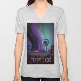 NASA Retro Space Travel Poster #7 Juniper Unisex V-Neck