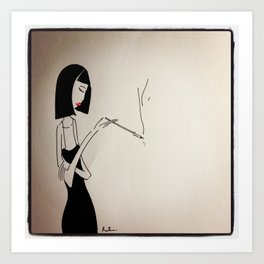 Smoking Lady Art Print