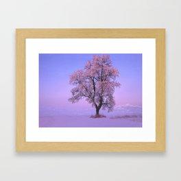 Pink Snow Tree Framed Art Print