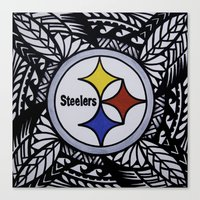steelers Canvas Prints featuring Steelers Poly Style by Lonica Photography & Poly Designs
