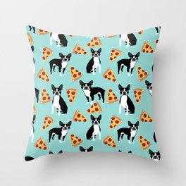 Boston Terrier pizza party cute pet portraits junk food pizza slices with boston terrier pattern  Throw Pillow