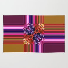 Purplish-Red and Gold Colorblock Abstract Rug