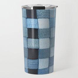 Woven Denim - Shades of Blue Travel Mug