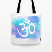 om Tote Bags featuring Om by Ashley Hillman