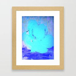 Neon Winter Rose, Abstract In Nature, Ice Blue Framed Art Print