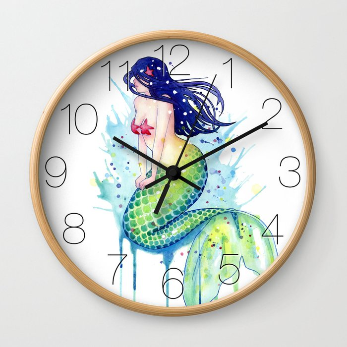 Mermaid Splash Wall Clock