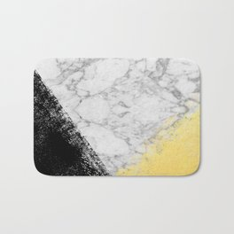 Marble with Black & Gold - gold foil, gold, marble, black and white, trendy, luxe, gold phone Bath Mat