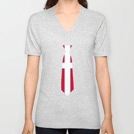 Denmark Patriotic Tie Tshirt Unisex V-Neck