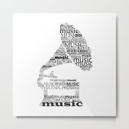 Typographic gramophone Metal Print