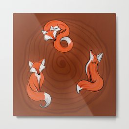 three Foxes in the Wood Metal Print