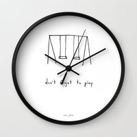 line Wall Clocks featuring don't forget to play by Marc Johns