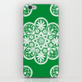Floral Doily Pattern | Green and White iPhone Skin