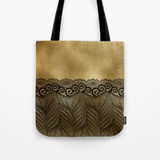 Black floral luxury lace on gold effect metal background Tote Bag