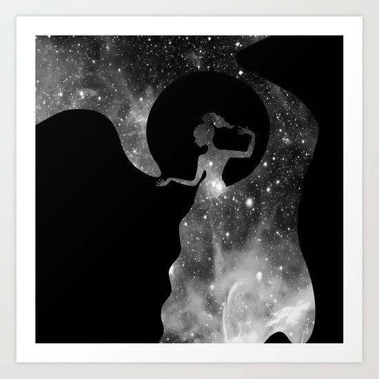 Galaxy From Within BNW Art Print