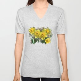 Watercolor Daffodils Unisex V-Neck