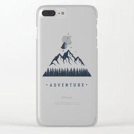 Creative Illustration In Geometric Style. Adventure, Nature, Travel And Mountains Clear iPhone Case