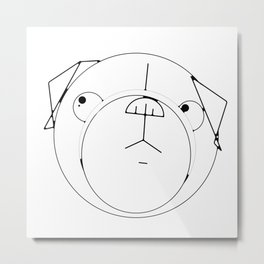 Pug Crop Cirlces Metal Print