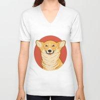 corgi V-neck T-shirts featuring Corgi by Greving Art