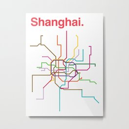 Shanghai Transit Map Metal Print