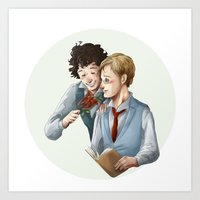 grantaire Art Prints featuring Grantaire et Combeferre by Sarlyne