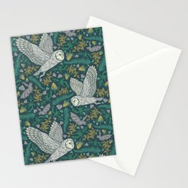 Flying owls and bat amoung yellow berries and green leaves Stationery Cards