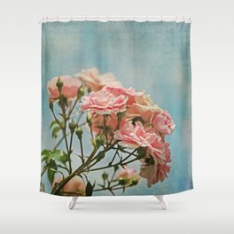 Vintage Inspired Pink Roses in Pastel Blue Sky with French Script Shower Curtain