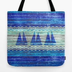 Rustic Navy Blue Coastal Decor Sailboats Tote Bag
