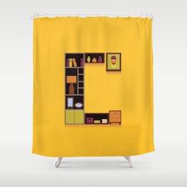Alphabet Drop Caps Series- C Shower Curtain