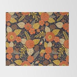Retro Orange, Yellow, Brown, & Navy Floral Pattern Throw Blanket