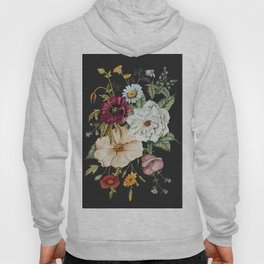 Colorful Wildflower Bouquet on Charcoal Black Hoodie