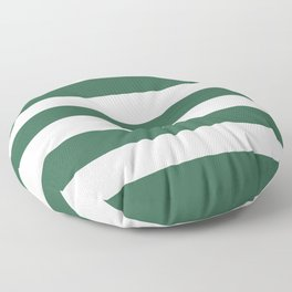 Poker Green - solid color - white stripes pattern Floor Pillow
