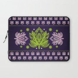 Lotus Flower in Bright green and Rose quartz Laptop Sleeve