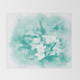 Butterflies and tropical flowers in stunning teal Throw Blanket