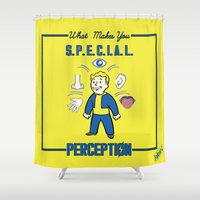 fallout Shower Curtains featuring PerceptionS.P.E.C.I.A.L. Fallout 4 by sgrunfo
