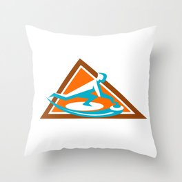 Curling Player Sliding Stone Triangle Icon Throw Pillow